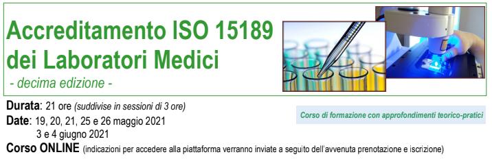 Accreditamento ISO 15189 dei Laboratori Medici – X Ed